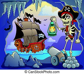 Pirate cove topic image 3 - eps10 vector illustration.