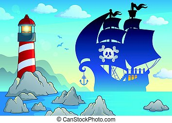 Pirate vessel silhouette theme 3 - eps10 vector...