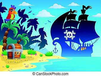 Pirate vessel silhouette theme 4 - Pirate vessel silhouette...