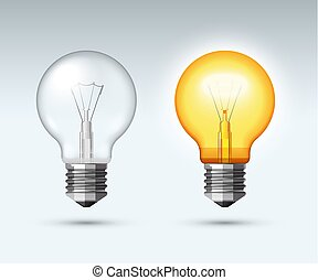 Light bulb. Switched on and off. Vector illustration