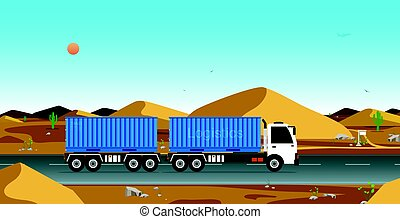 Cargo transportation by truck - The truck on the road with...