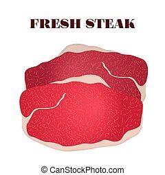 Fresh steak. Pork, beef, slice of meat in flat style.