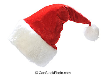 Santas red hat isolated on white background