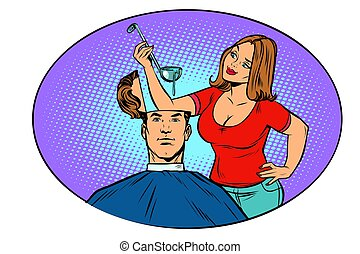 Wife husband prepares soup in his head. The concept of...