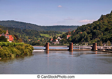 heidelberg canal lock - canal lock in the famous city...