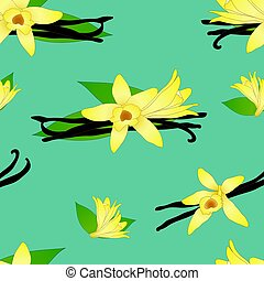 Vanilla Planifolia Flower on Indigo Teal Blue Background. Vector Illustration