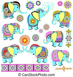decorated cartoon elephants - set with cartoon Indian...