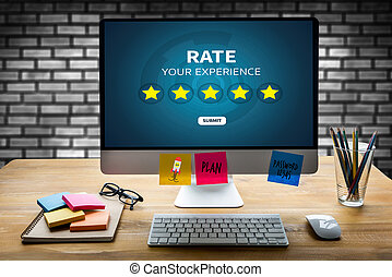 Businessman holding five star rating Review increase rating...