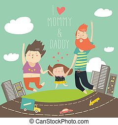 Joyful family is jumping. Dad mom and daughter holding hands jumped