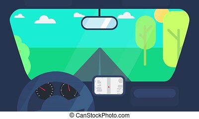 Driving On Car Animation - Driving with view inside car...