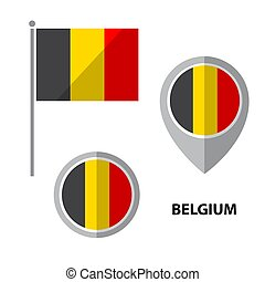 flags set-05 - Set of Belgium flag and map pointer icon....