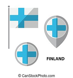 flags set-08 - Set of Finland flag and map pointer icon....