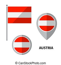 flags set-13 - Set of Austria flag and map pointer icon....