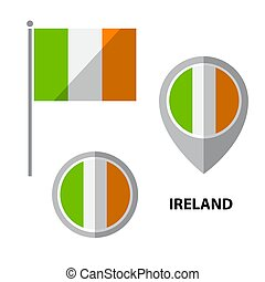 flags set-14 - Set of Ireland flag and map pointer icon....