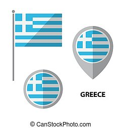 flags set-21 - Set of Greece flag and map pointer icon....