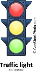 Vector illustration luminous traffic light signal