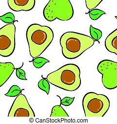 Collection fruit avocado pattern style