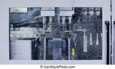 Moving steel machine tool at the factory - Moving machine...