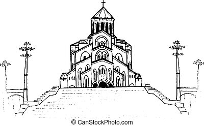 Holy Trinity Cathedral in Tbilisi, Georgia. Hand-drawn...