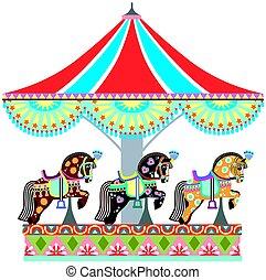 roundabout horse carousel - cartoon circus roundabout...