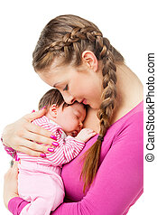 Mother holding newborn baby in arms