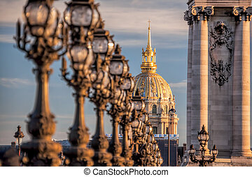 Alexandre III bridge with Invalides in Paris, France