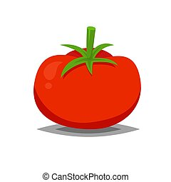 Red and fresh tomato vector icon isolated on white for food...