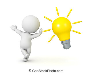 3D Character leaning on a bright idea lightbulb. Image can...