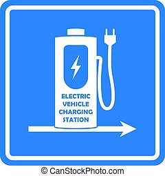 Vector charging station road sign template. Direction to charging station for electric car or vehicle.