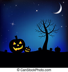 Halloween Background With Tree, Moon And Pumpkin, Vector...