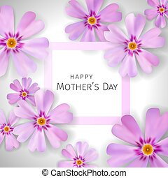 Mother's day greeting card with flowers phlox background -...