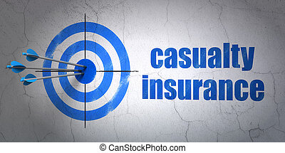 Insurance concept: target and Casualty Insurance on wall...