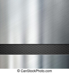 metal panels with hexadecimal grid 3d illustration -...