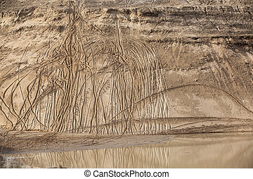 Sand quarry slope - Abstract background of a sand quarry...