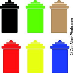 Color bins isolated on white background