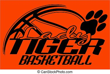 lady tiger basketball team design with paw print for school,...