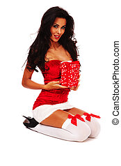 Christmas Beauty - santa helper girl on white background...
