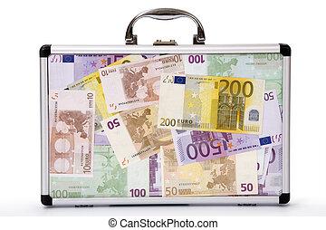 euro-notes, llenado, maleta