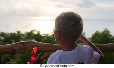 The boy is making soap bubbles. Panoramic view. Closeup.