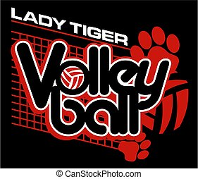 lady tiger volleyball team design with paw prints for...