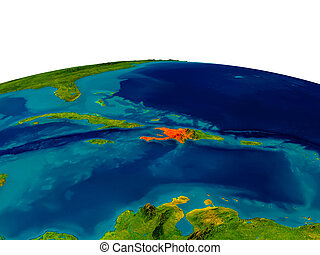 Haiti on model of planet Earth - Haiti highlighted in red on...