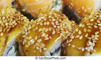 Japanese Sushi Rolls close-up is Moving - Japanese Sushi...