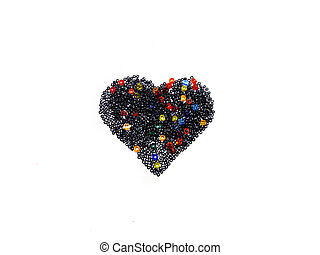 Heart built of colored glass beads