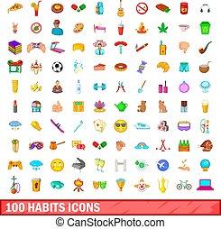 100 habits icons set, cartoon style - 100 habits icons set...