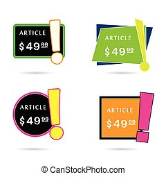 article price offer set in diferent frame color illustration...