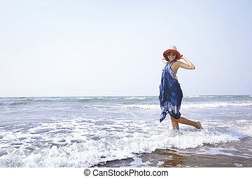 Woman at Atlantic ocean - Happy woman at Atlantic ocean