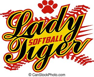 lady tiger softball team design with stitches and paw print...