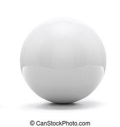 3d white sphere on white background