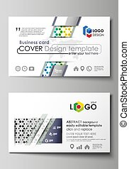 Business card templates. Abstract template, vector layout. Chemistry pattern, hexagonal design molecule structure, scientific, medical DNA research. Geometric colorful background.