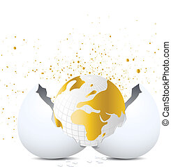 Golden Globe out of eggshell.
